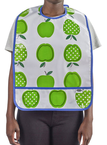 Slightly Imperfect Freckled Sage Oilcloth Adult Bib in Apple and Dots Green