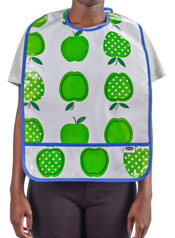 Freckled Sage Oilcloth Adult Bib Apples & Dots Green
