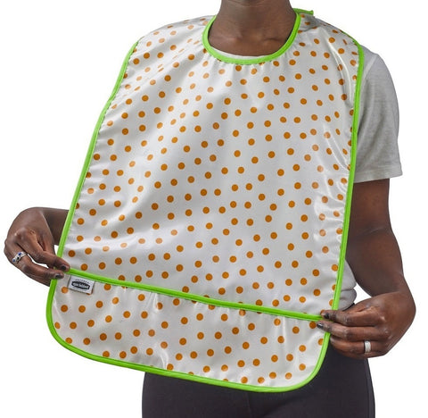 Freckled Sage Oilcloth Bib Dot Orange