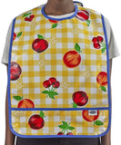 Freckled Sage Oilcloth Bib Gingham and Fruit Yellow
