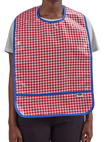 Freckled Sage Oilcloth Adult Bib Red Gingham