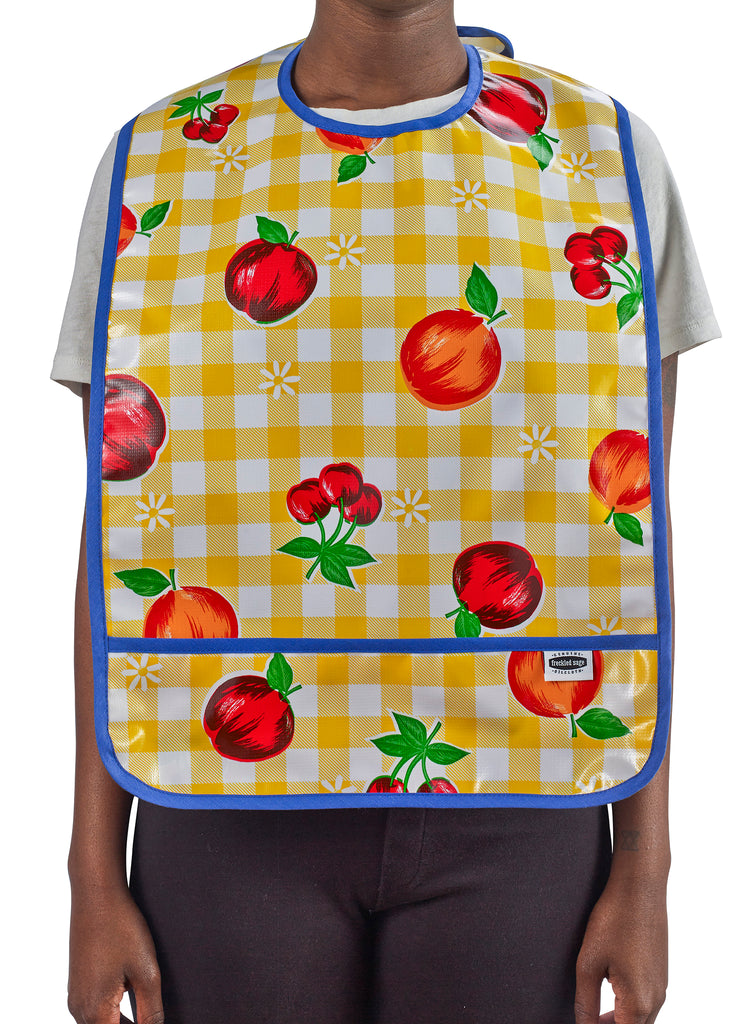 Freckled Sage Oilcloth Adult Bib Fruit and Gingham Yellow