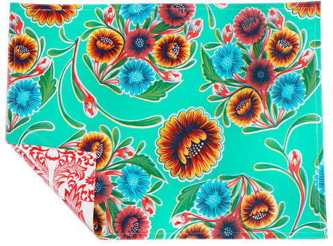 Freckled Sage Oilcloth Placemats Bloom Aqua