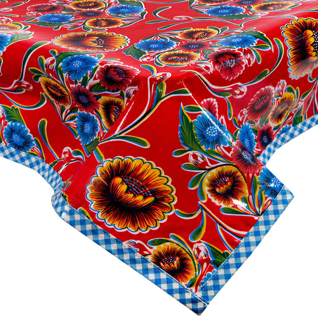 Freckled Sage Oilcloth Tablecloth Bloom Red
