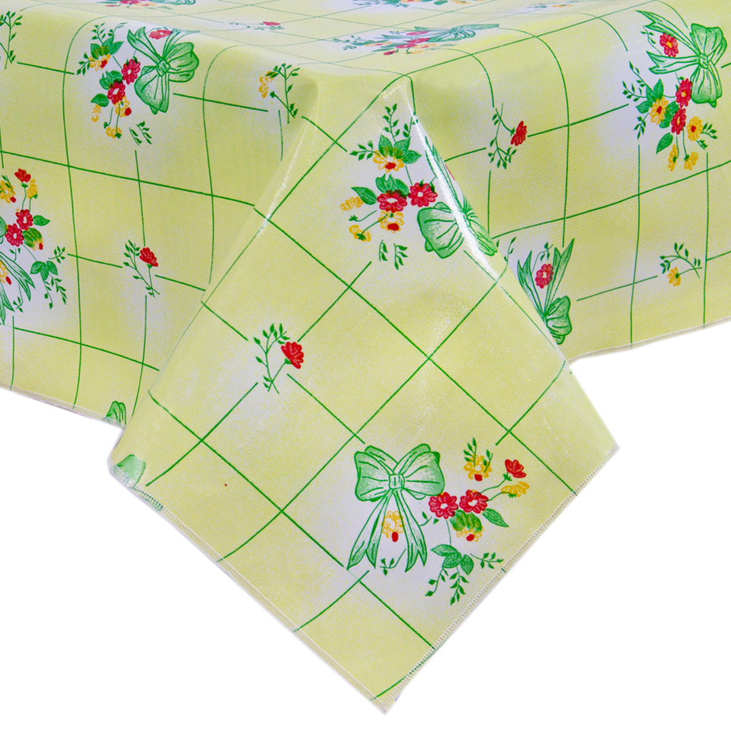 Freckled Sage Oilcloth Tablecloth Bows and Bouquet Yellow