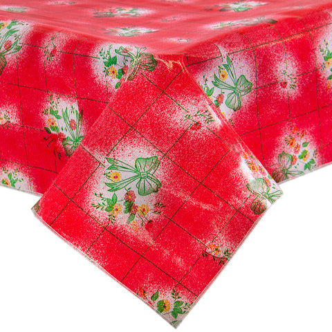Freckled Sage Oilcloth Tablecloth Bows and Bouquet Red