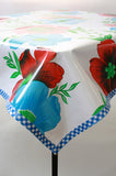 big flowers and stripes oilcloth tablecloth