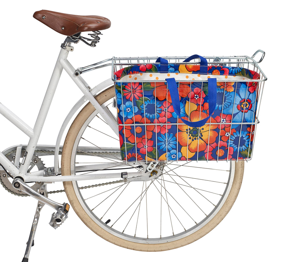 Freckled Sage Oilcloth Bike Basket Tote Betty's Bunch Navy