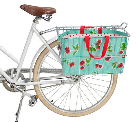 Freckled Sage Oilcloth Bike Basket Tote Cherry Aqua