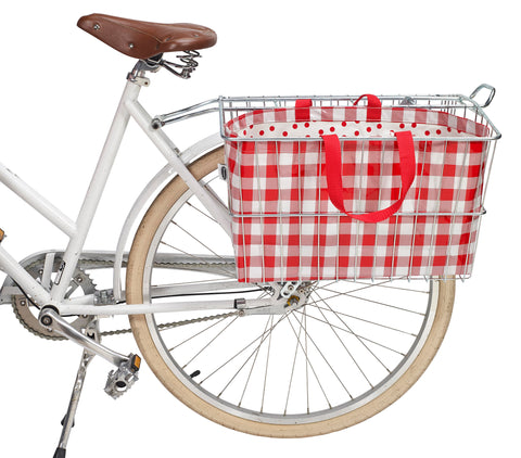 Freckled Sage Oilcloth Bike Basket Tote Gingham Red