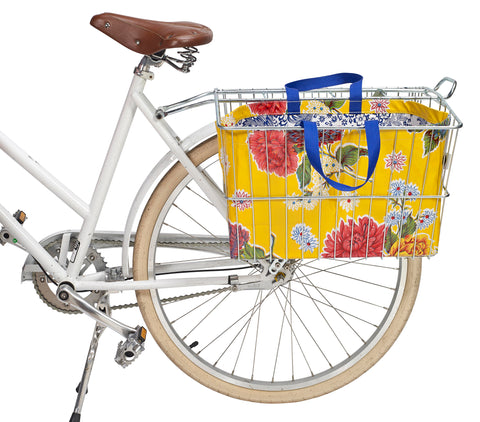 Freckled Sage Oilcloth Bike Basket Tote Mum Yellow