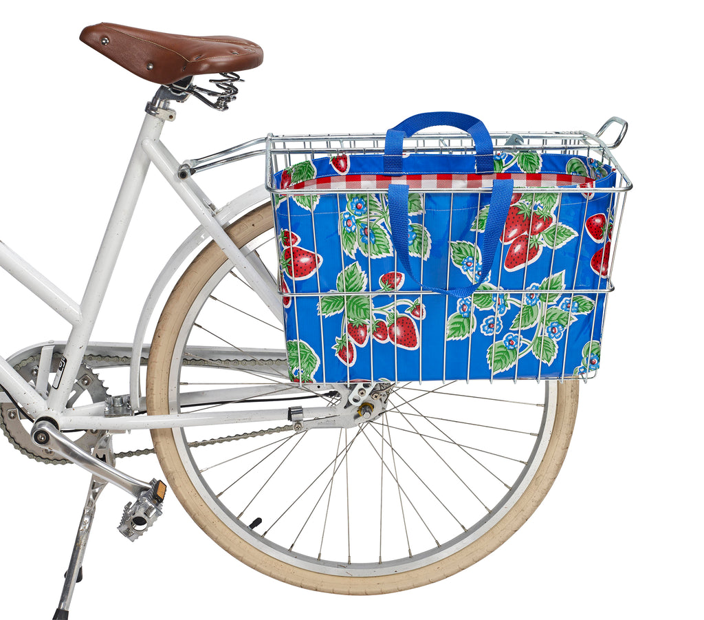 Freckled Sage Oilcloth Bike Basket Tote Strawberry Blue