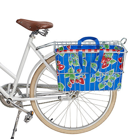 Freckled Sage Oilcloth Rear Bike Basket Tote Strawberry Blue