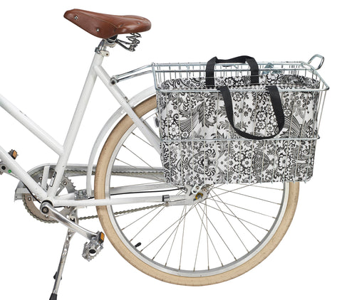 Freckled Sage Oilcloth Bike Basket Tote Black Toile