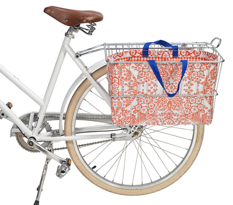Freckled Sage Oilcloth Bike Basket Tote Toile Orange