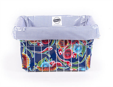 Freckled Sage Oilcloth Bike Basket Liner Bloom Navy