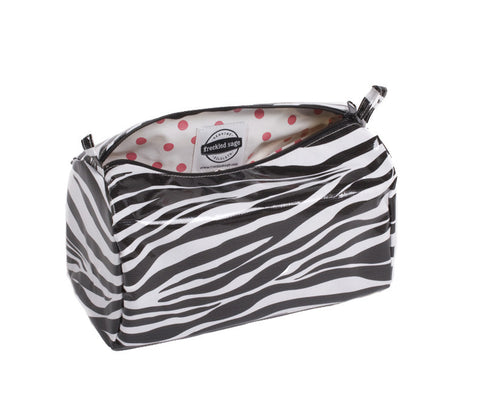 Freckled Sage Oilcloth Travel Bag Zebra