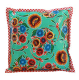 Freckled Sage Oilcloth Pillow Bloom Aqua