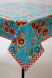 Bloom Light Blue Oilcloth Tablecloth