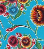 Round Oilcloth Tablecloth in Bloom Light Blue