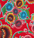 Round Oilcloth Tablecloth in Bloom Red