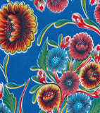 Round Oilcloth Tablecloth in Bloom Royal Blue