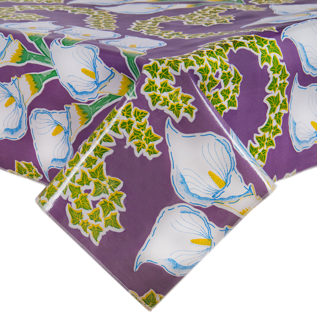 Freckled Sage Oilcloth Tablecloth in Calla Lily Purple