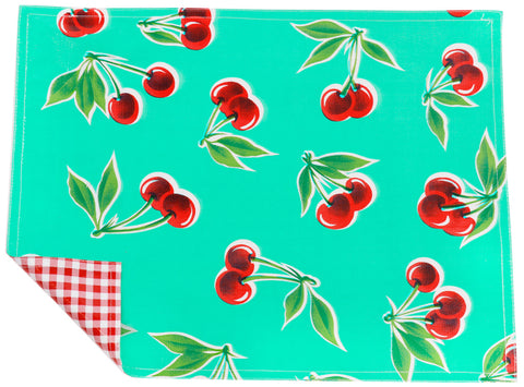 Freckled Sage Oilcloth Placemats Cherry Aqua