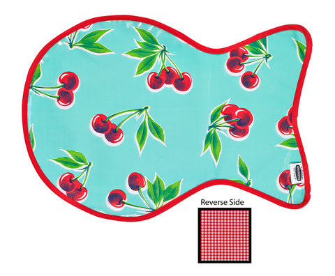 Freckled Sage Oilcloth Reversible Cat Mat in Cherry Aqua
