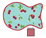 Freckled Sage Oilcloth Cat Mat Cherry Aqua