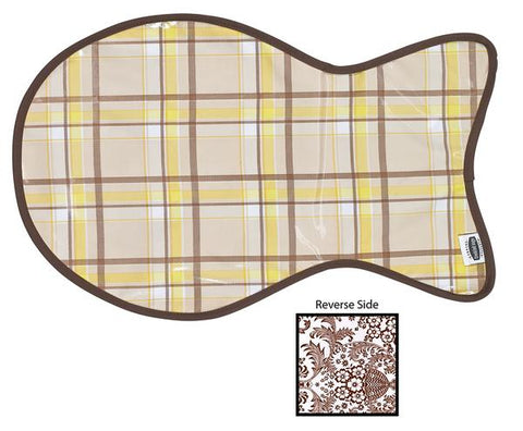 Freckled Sage Oilcloth Cat Mat Plaid Yellow & Brown