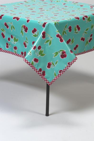 Slightly Imperfect 48 x 48 square Cherry Aqua Tablecloth