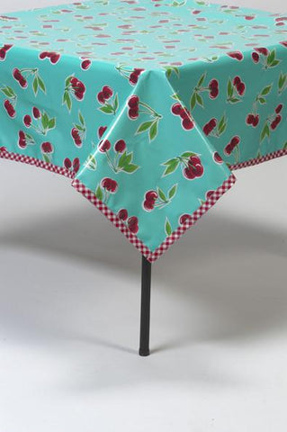 Slightly Imperfect 60 x 120 Cherry Aqua Tablecloth