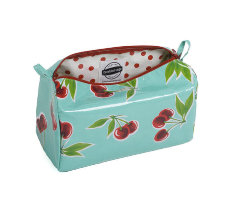 Freckled Sage Oilcloth Travel Bag Cherry Aqua
