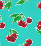 "60"" Round Oilcloth Tablecloth in Cherry Aqua"