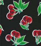 Cherry Black Oilcloth Tablecloth with Red Gingham Trim