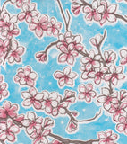 Freckled Sage Oilcloth Swatch Cherry Blossom Light Blue