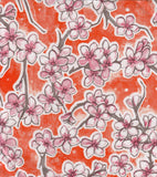 Freckled Sage Oilcloth Swatch Cherry Blossom Orange