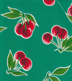Freckled Sage Oilcloth Swatch Cherries on Green