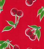 Freckled Sage Oilcloth Swatch Cherries on Red