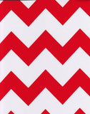 Round Oilcloth Tablecloth in Chevron Red