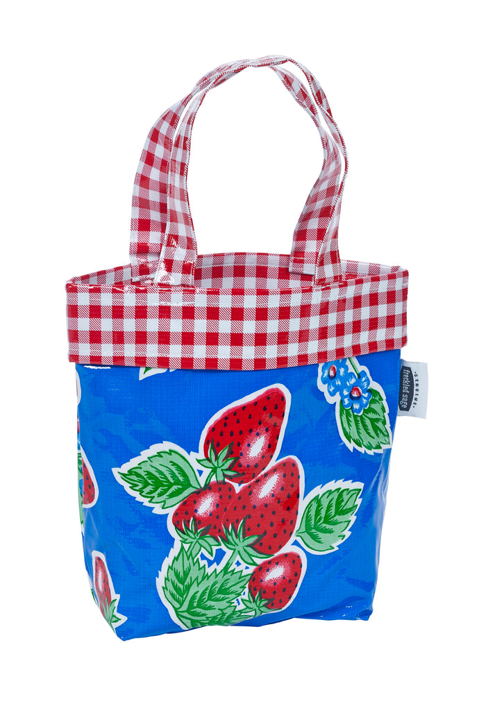 Freckled Sage Oilcloth Chickee Bag Strawberry Blue
