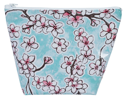 Freckled Sage Oilcloth Cosmetic Bag Cherry Blossom Aqua