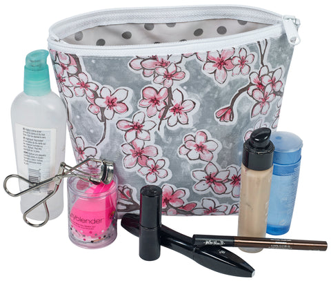 Freckled Sage Oilcloth Cosmetic Bag Cherry Blossom Silver Model