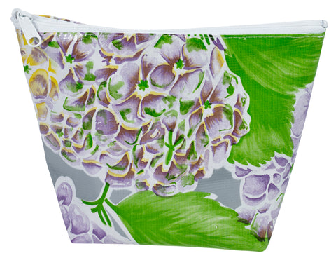 Freckled Sage Oilcloth Cosmetic Bag Hydrangea Silver