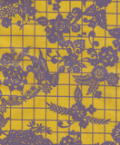 Round Oilcloth Tablecloth in Day of the Dead Purple on Yellow