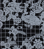 Freckled Sage Oilcloth Swatch White on Black Day of Dead