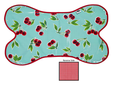 Freckled Sage Oilcloth Dog Mat Cherry Aqua