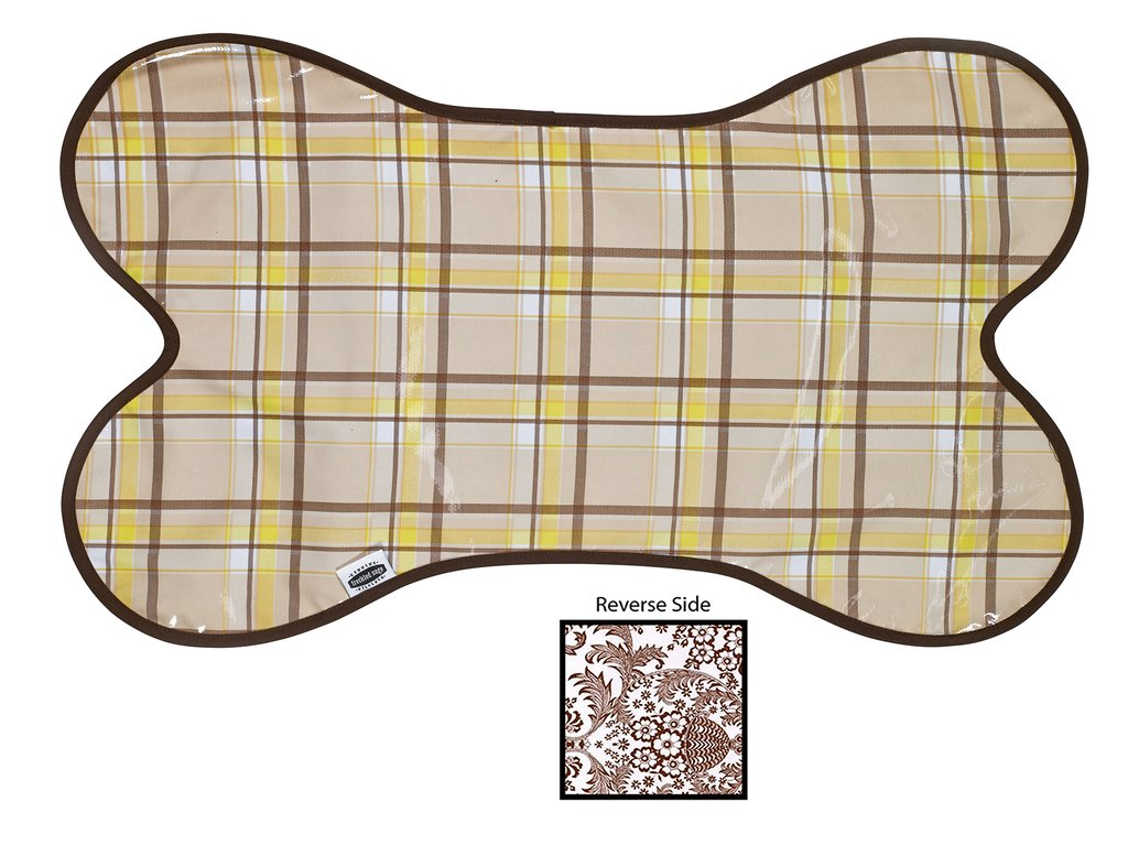 Freckled Sage Oilcloth Dog Mat Plaid Brown and Yelllow