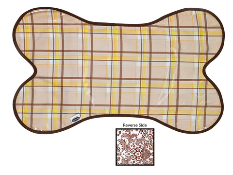 Freckled Sage Reversible Oilcloth Dog Mat in Plaid Brown and Yellow